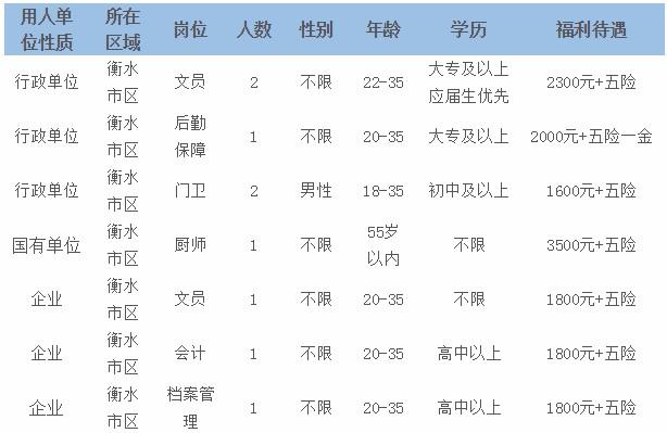 河北衡水招聘企事业单位劳务派遣制人员9人公告