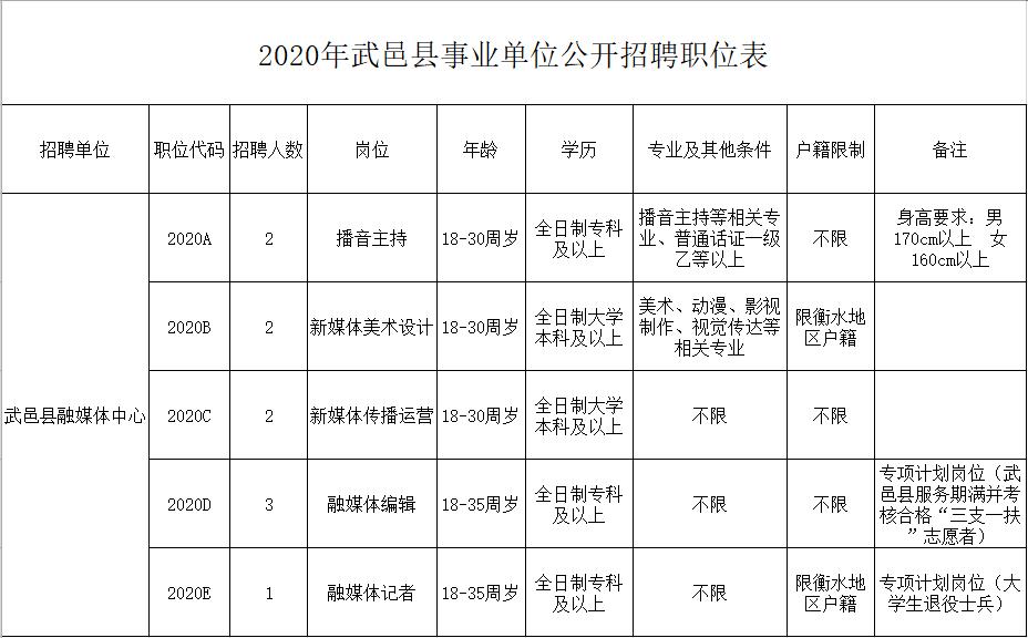2020年河北衡水武邑县融媒体中心招聘工作人员10人公告